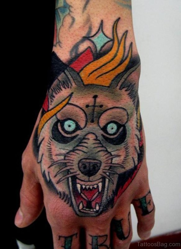 Colored Wolf Tattoo On Hand