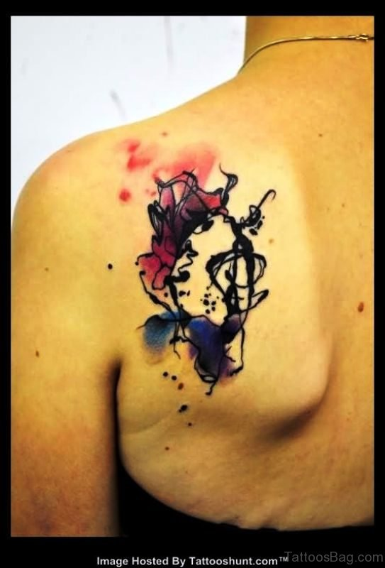Colorful Abstract Tattoo On Back Shoulder