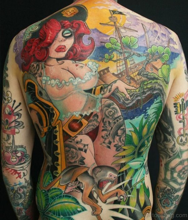 Colorful Alien Tattoo On Back
