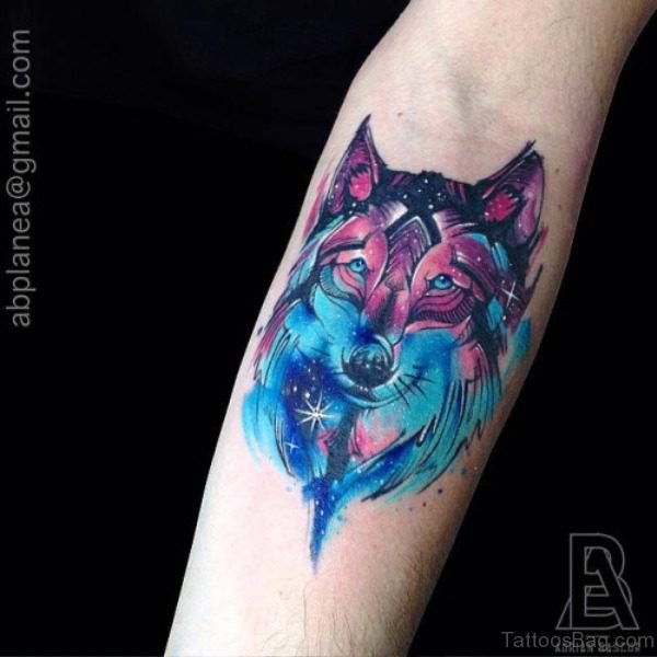 Colorful Alpha Wolf Tattoo