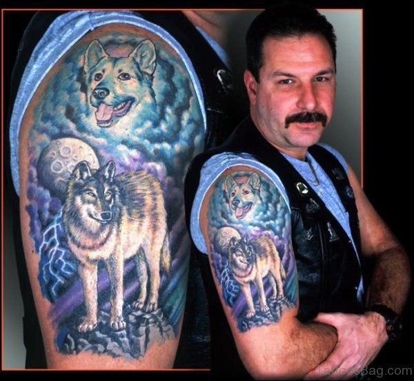 Colorful Alpha Wolf Tattoo On Shoulder