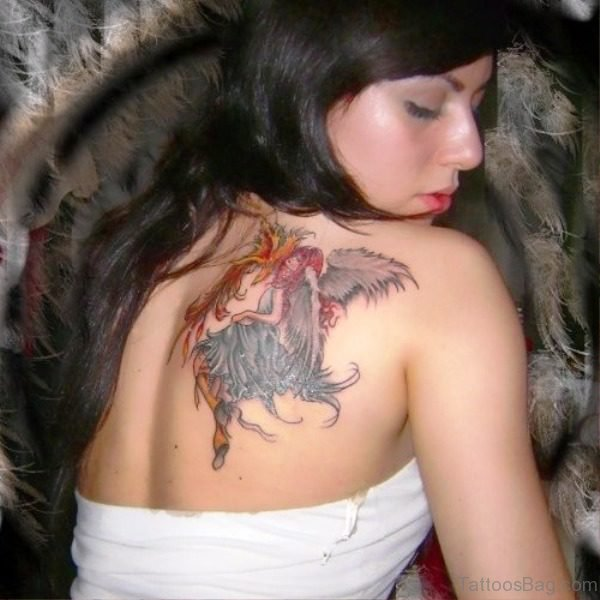 Colorful Angel Tattoo On Back Shoulder