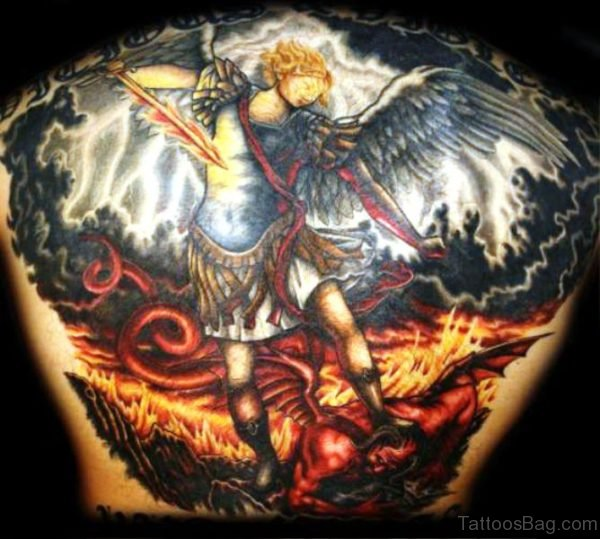 Colorful Archangel Tattoo On Back