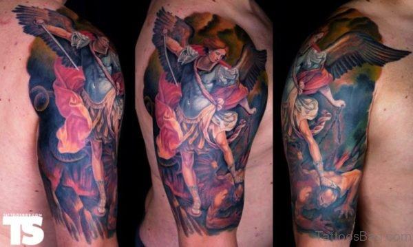Colorful Archangel Tattoo On Shoulder