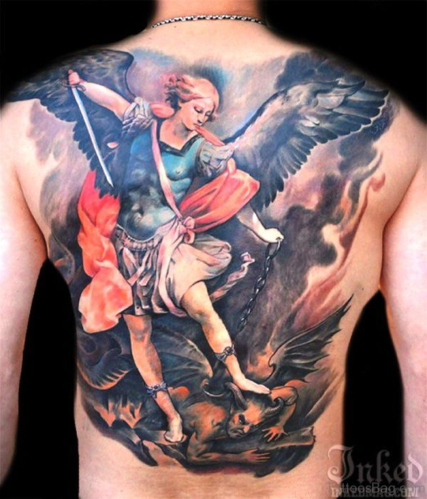 Colorful Archangel Tattoo With Sword