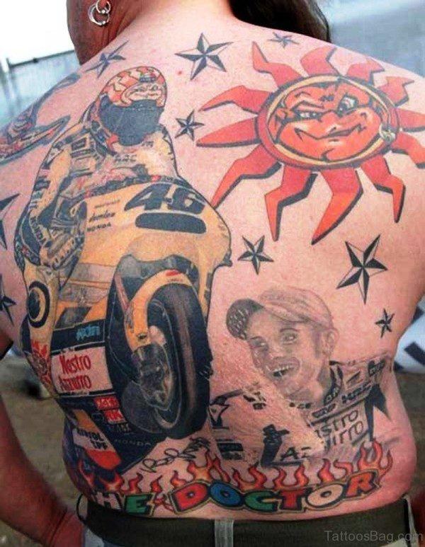 Colorful Biker Tattoo On Back