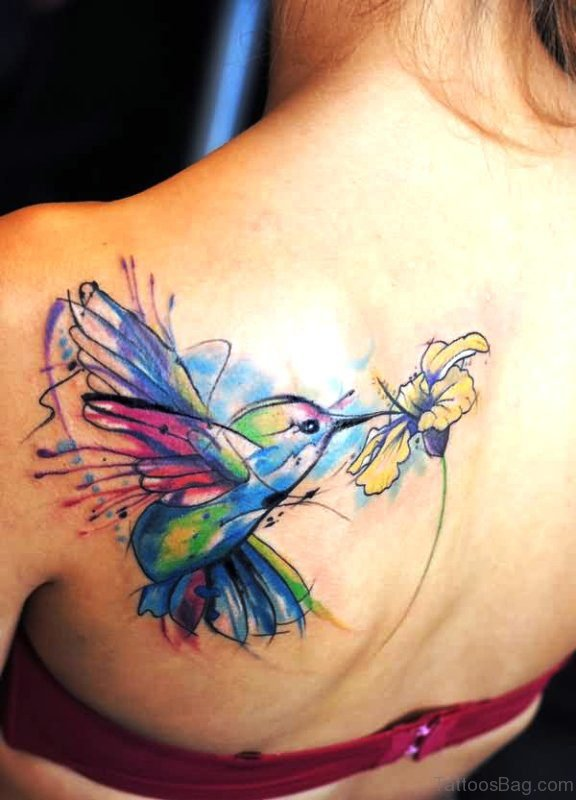 Colorful Bird With Flower Tattoo Design