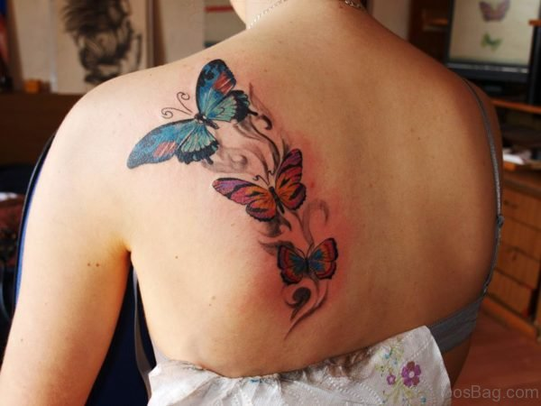Colorful Butterflies Tattoo On Back Shoulder