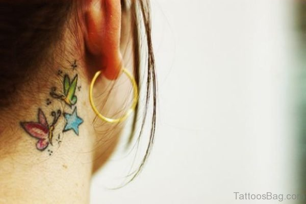 Colorful Butterfly And Stars Tattoo On neck