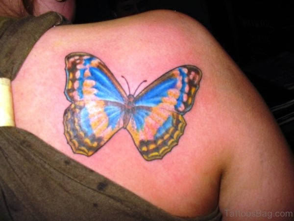 Colorful Butterfly Tattoo On Back Shoulder