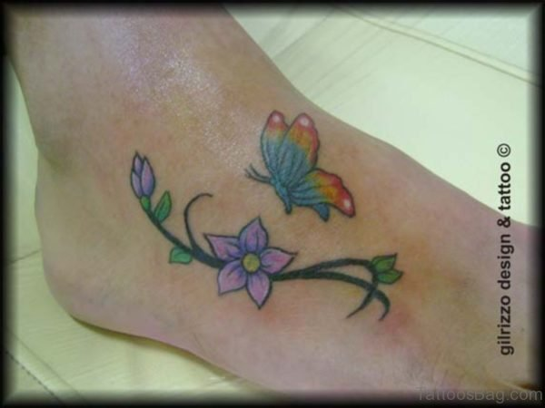 Colorful Butterfly With Flower Tattoo