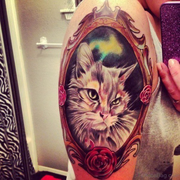 Colorful Cat Shoulder Tattoo