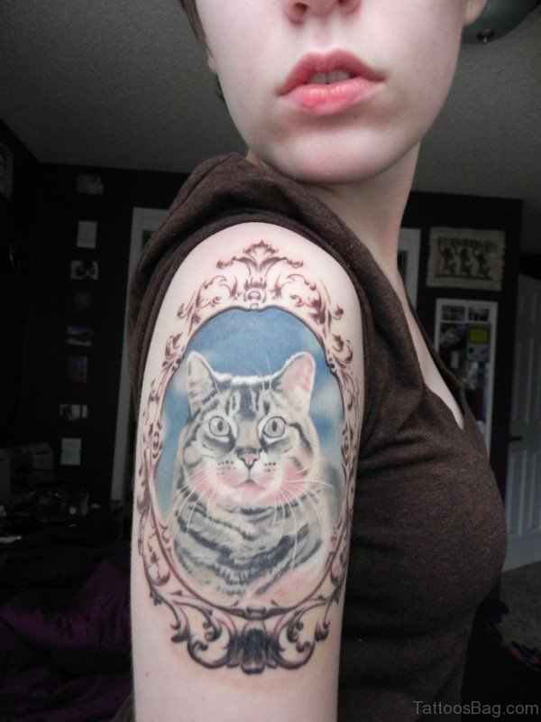 Colorful Cat Tattoo On Shoulder