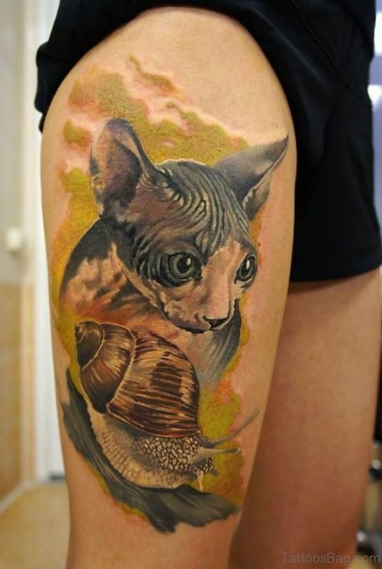 Colorful Cat Tattoo On Thigh