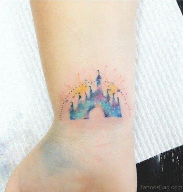 Colorful Disney Castle Tattoo