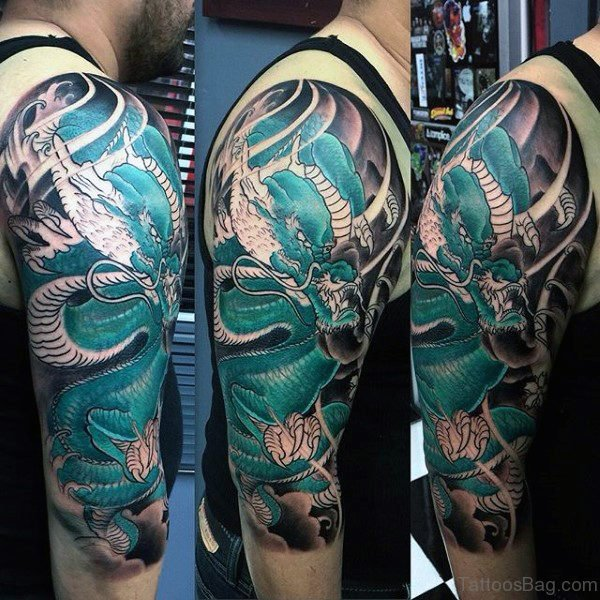 Colorful Dragon Tattoo On Half Sleeve