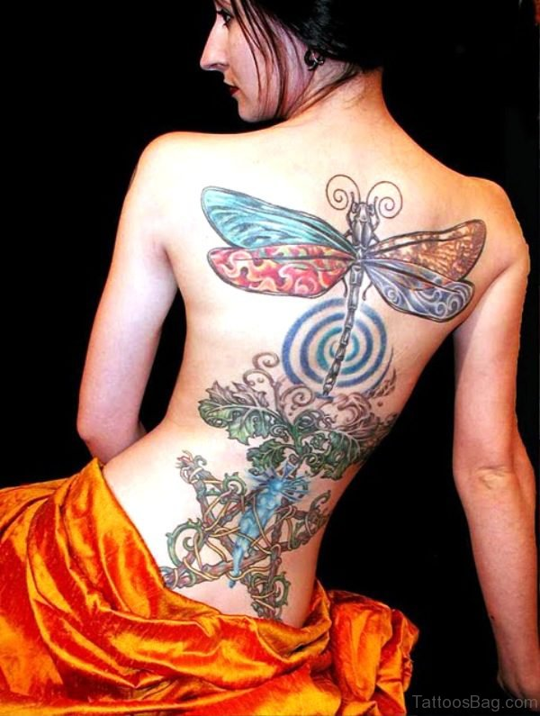 Colorful Dragonfly Tattoo On Back