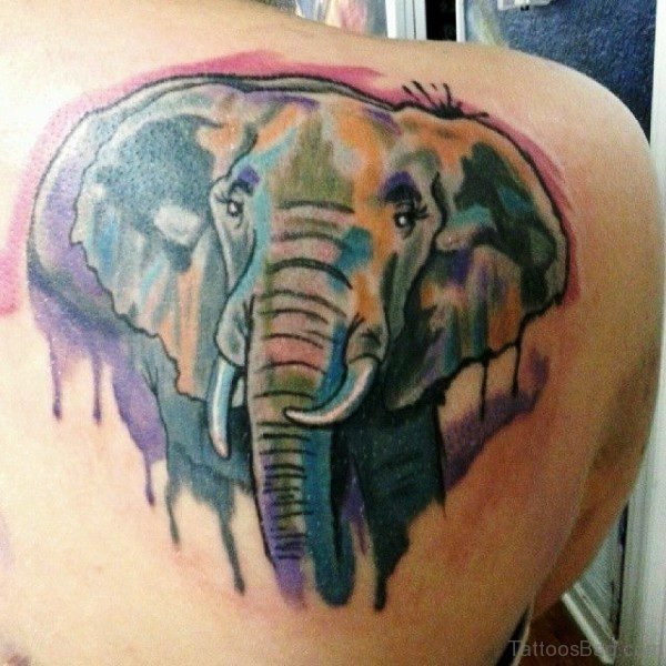 Colorful Elephant Face Tattoo On Shoulder