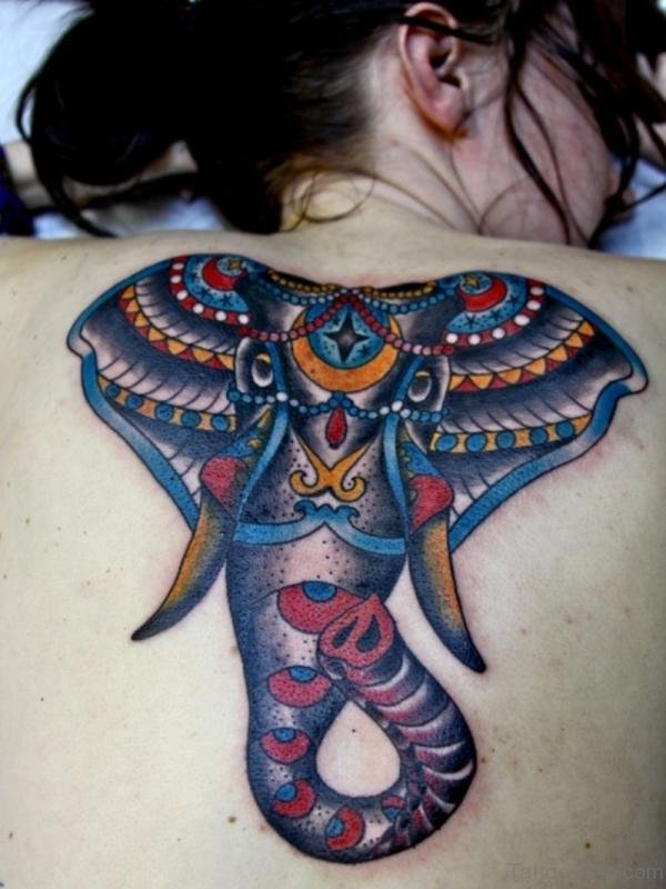 Colorful Elephant Tattoo On Back