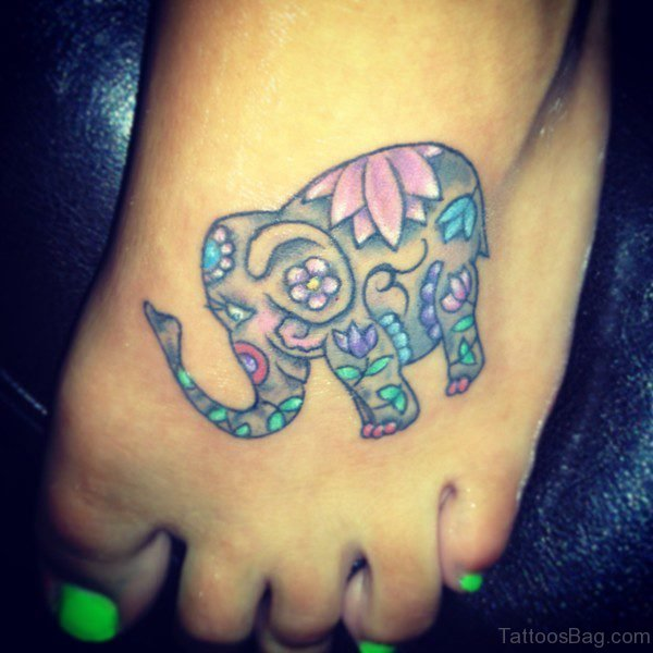 Colorful Elephant Tattoo On Foot
