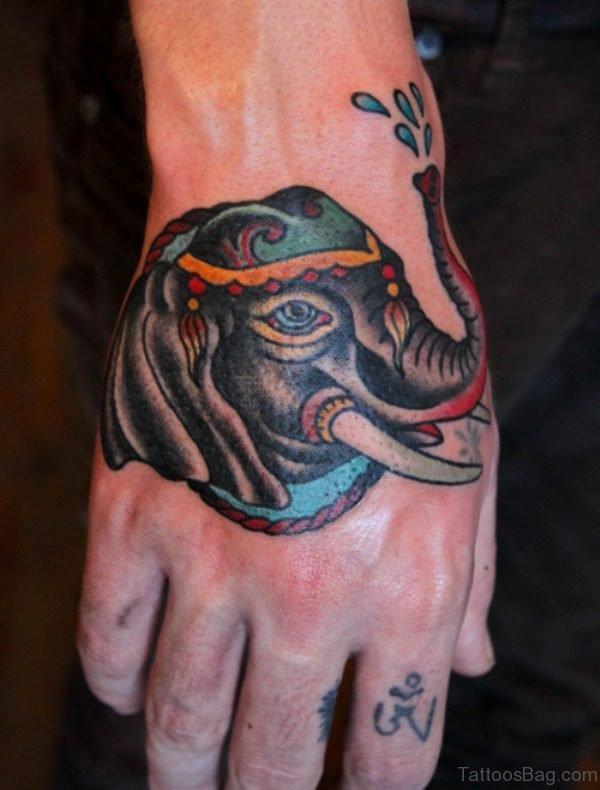 Colorful Elephant Tattoo On Hand 1