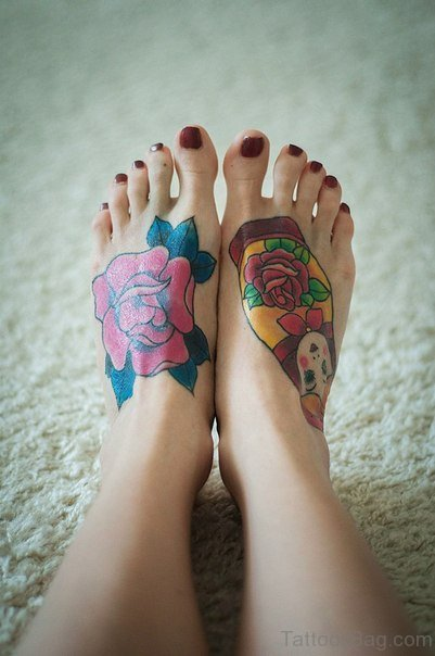 Colorful Flower Tattoo On Foot