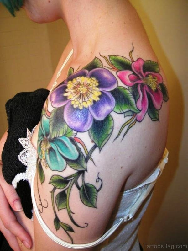 Colorful Flowers Tattoo On Shoulder