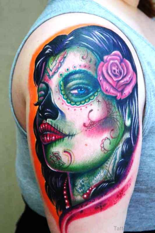 Colorful Girl Portrait Tattoo On Shoulder