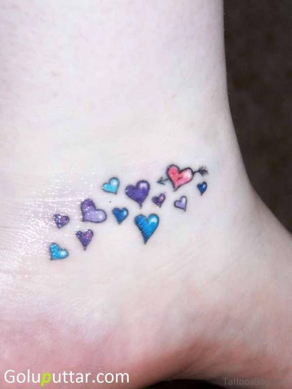 Colorful Heart Tattoo On Ankle