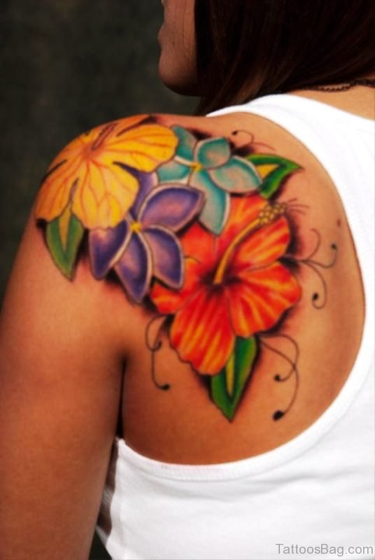 Colorful Hiniscus Flowers Tattoo