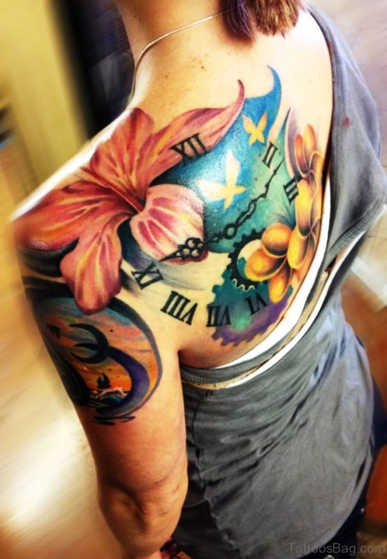 Colorful Lily And Clock Tattoo On Shoulder