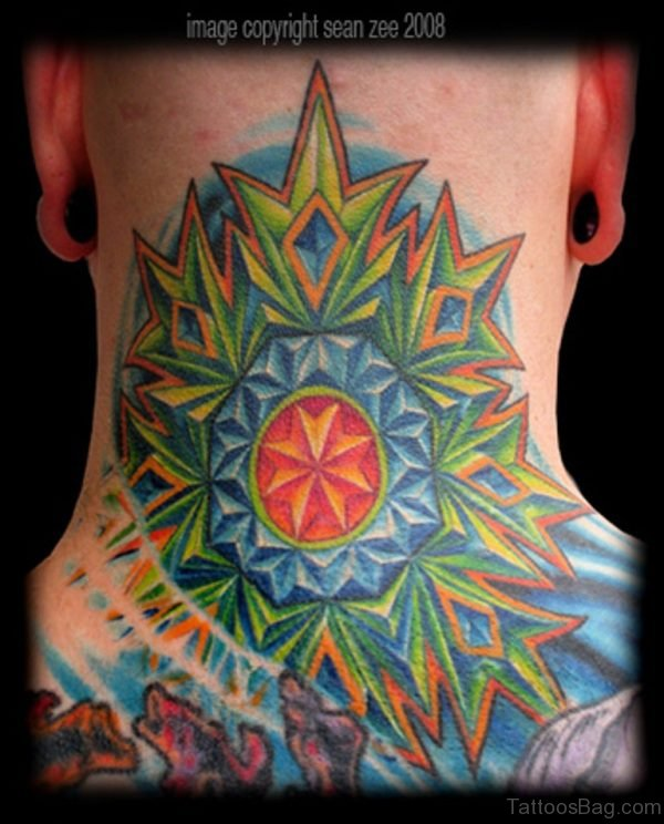 Colorful Mandala Neck Tattoo
