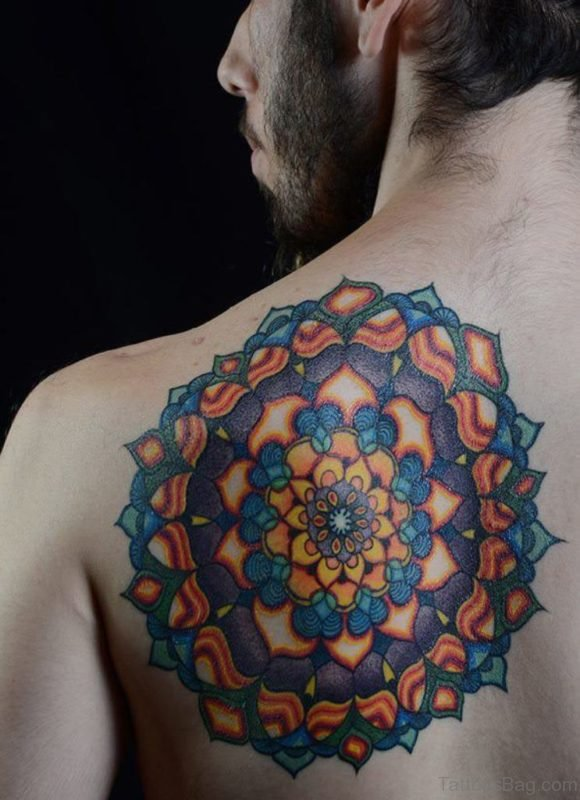 Colorful Mandala Tattoo On Back