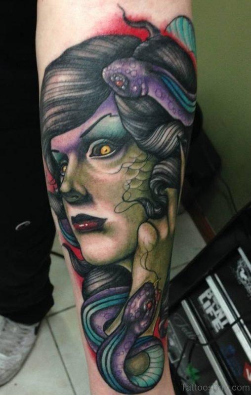 Colorful Medusa Tattoo On Arm