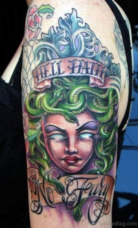 Colorful Medusa Tattoo On Shoulder