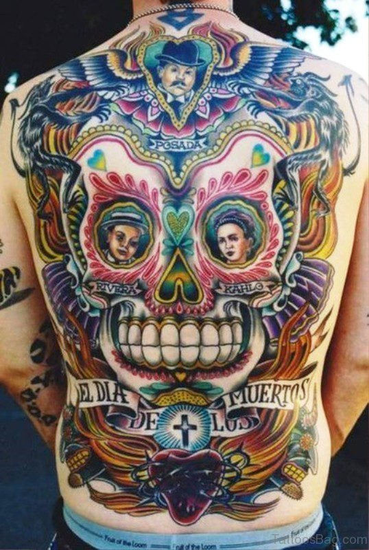 Colorful Mexican Skull Tattoo