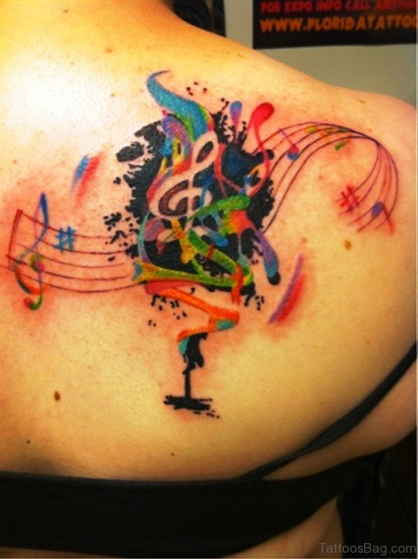 Colorful Musical Tattoo On Back Shoulder