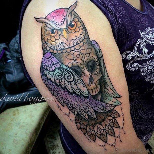 Colorful Owl Skull Tattoo On Shoulder