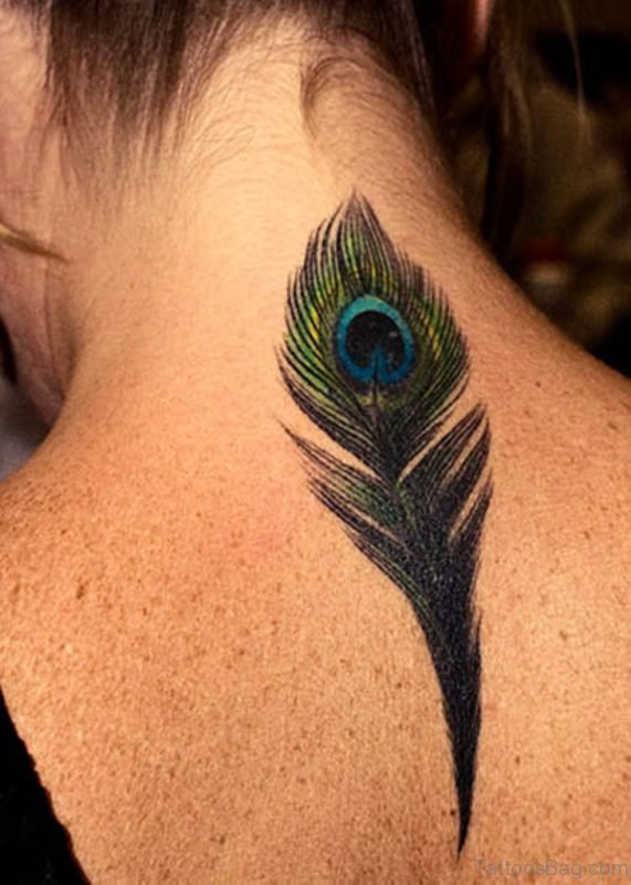 Colorful Peacock Feather Tattoo On Girl Nape
