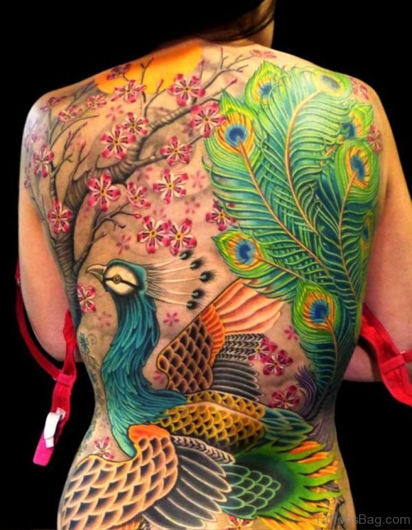 Colorful Peacock Tattoo On Back