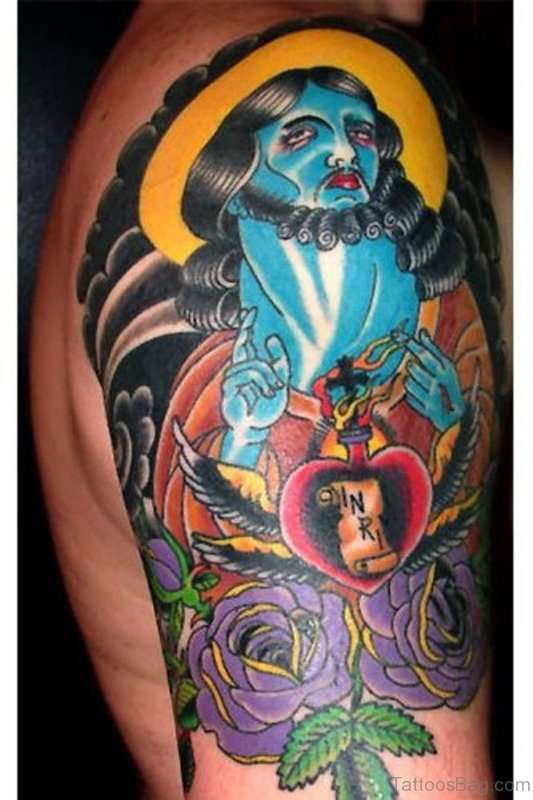 Colorful Religious Tattoo