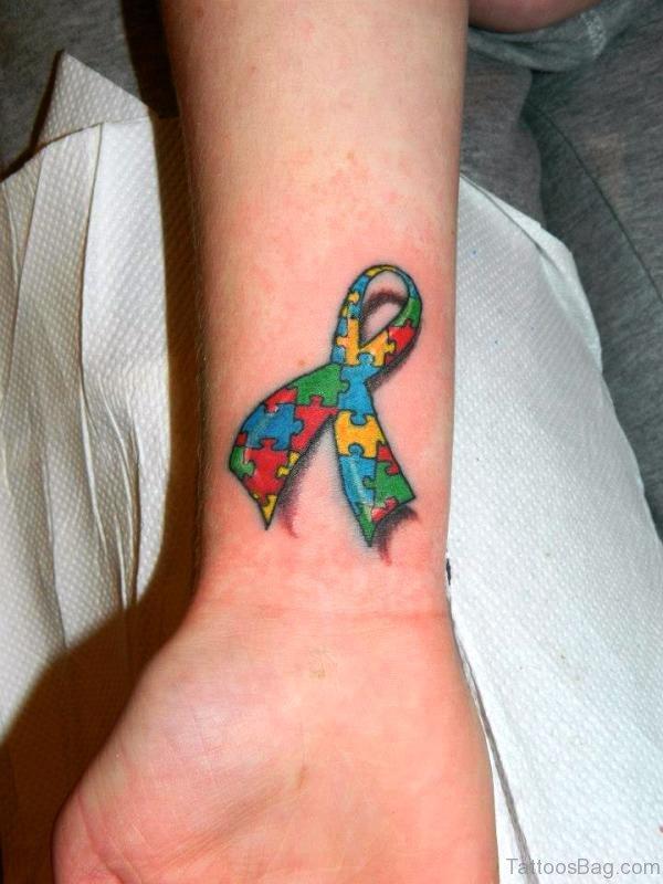 Colorful Ribbon Autism Design