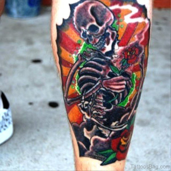 Colorful Skelton Tattoo On Calf