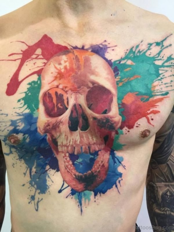 Colorful Skull Tattoo On Chest