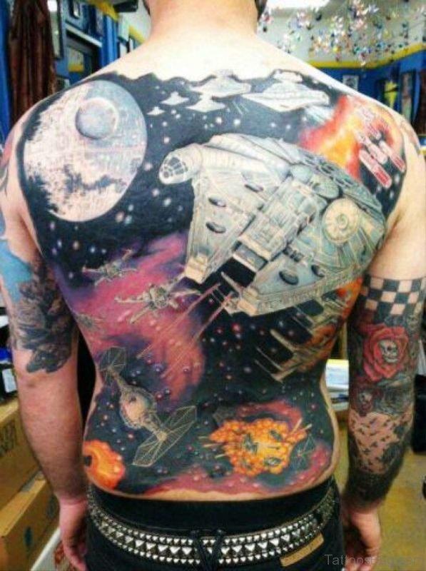 Colorful Space Tattoo Design