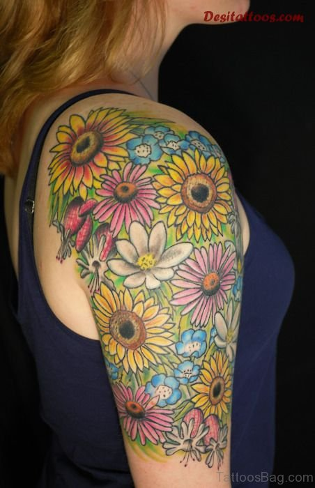 Colorful Sunflower Tattoo On Shoulder