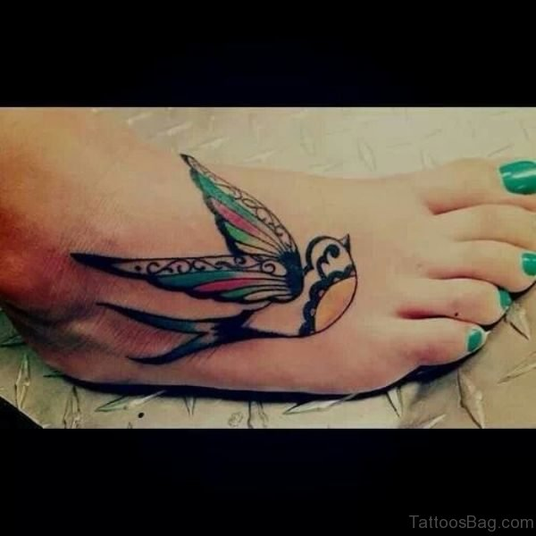 Colorful Swallow Bird Tattoo On Foot