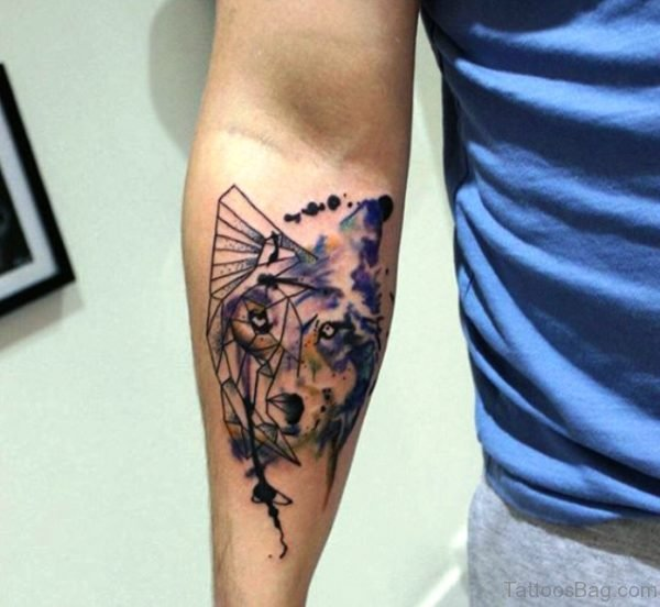 Colorful Tribal Alpha Tattoo On Arm