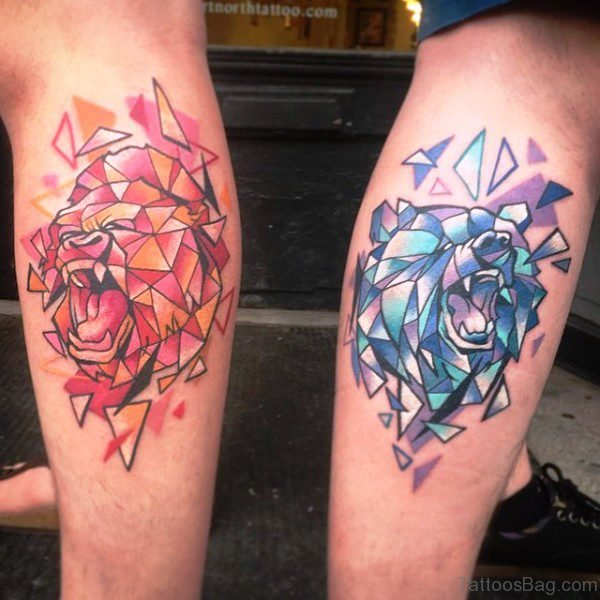Colorful Tribal Tattoo On Calf