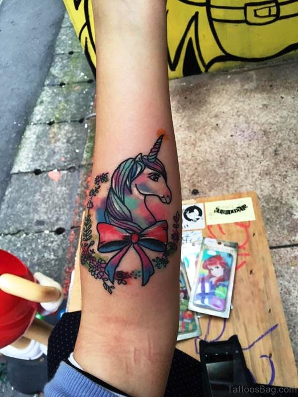 Colorful Unicorn With Ribbon Tattoo